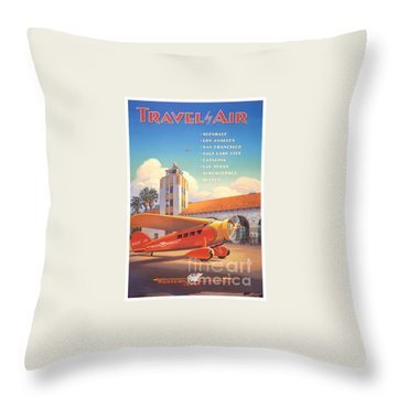Travel By Air Throw Pillow by Nostalgic Prints