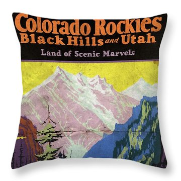 Travel By Train To Colorado Rockies - Vintage Poster Folded Throw Pillow
