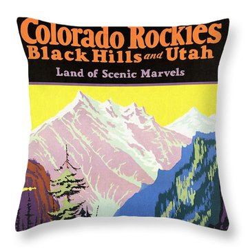 Travel By Train To Colorado Rockies - Vintage Poster Restored Throw Pillow