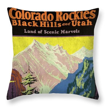 Travel By Train To Colorado Rockies - Vintage Poster Vintagelized Throw Pillow