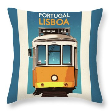Travel Posters - Lisbon Portugal Throw Pillow