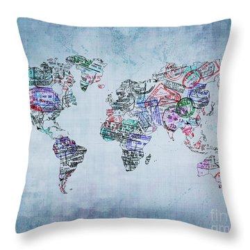 Traveler World Map Blue 8x10 Throw Pillow