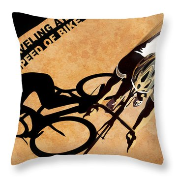Traveling At The Speed Of Bike Throw Pillow by Sassan Filsoof