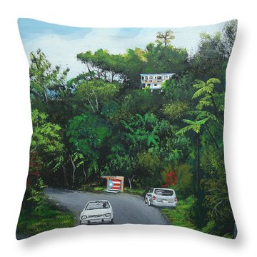 Traveling In Adjuntas Mountains Throw Pillow by Luis F Rodriguez