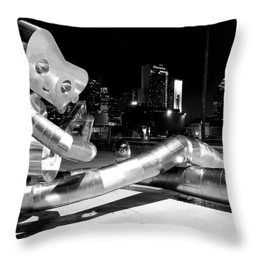 Waiting On The Train 8916 Bw Throw Pillow