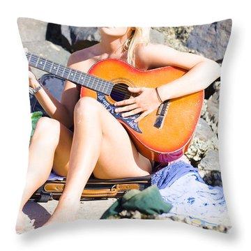 Traveling Musician Throw Pillow