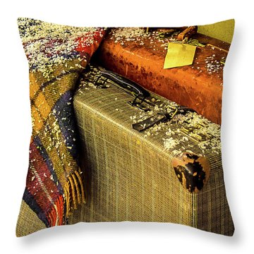 Throw Pillow featuring the photograph Traveling Vintage Bags Blanket And Snow by Julie Palencia