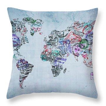 Traveler World Map Throw Pillow