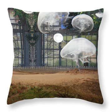Travels With Jellyfish Throw Pillow
