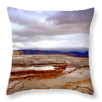 Throw Pillow featuring the photograph Travertine Terraces by Irina Hays
