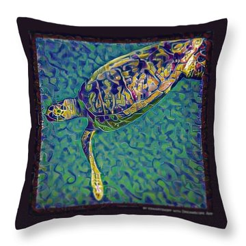 Throw Pillow featuring the digital art Travis The Turtle by Erika Swartzkopf