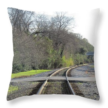 Throw Pillow featuring the photograph Trax Bend by Aaron Martens