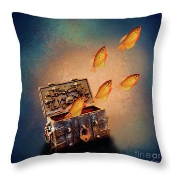 Treasure Chest Throw Pillow by KaFra Art