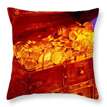 Treasure Chest With Gold Coins Throw Pillow by Garry Gay
