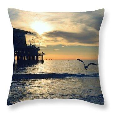 Seagull Pier Sunrise Seascape C1 Throw Pillow