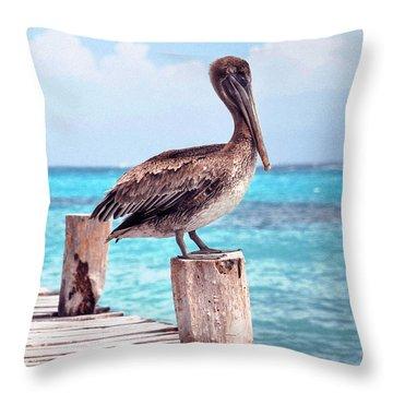 Treasure Coast Pelican Pier Seascape C1 Throw Pillow by Ricardos Creations
