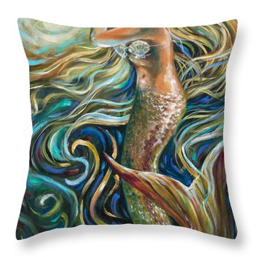 Treasure Mermaid Throw Pillow by Linda Olsen