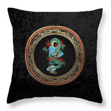 Treasure Trove - Turquoise Dragon Over Black Velvet Throw Pillow by Serge Averbukh