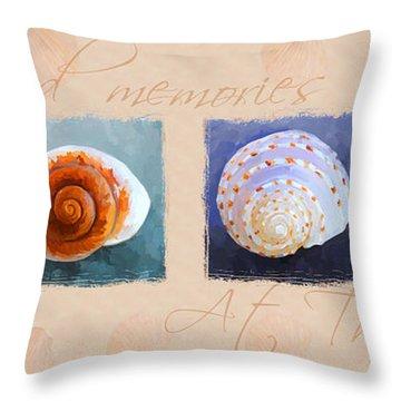 Treasured Memories Sea Shell Collection Throw Pillow by Jai Johnson