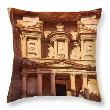 Throw Pillow featuring the photograph Treasury Of Petra In Color by Mae Wertz
