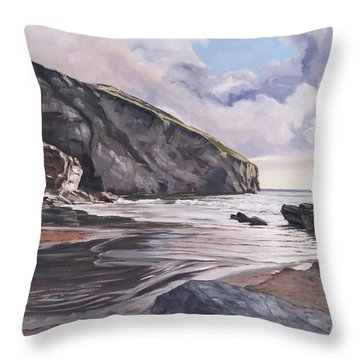 Throw Pillow featuring the painting Trebarwith Strand by Lawrence Dyer