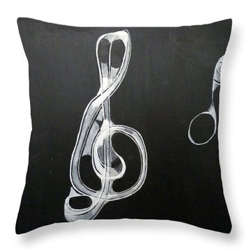 Throw Pillow featuring the painting Treble Clef by Richard Le Page