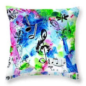 Throw Pillow featuring the mixed media Treble Mp by Genevieve Esson