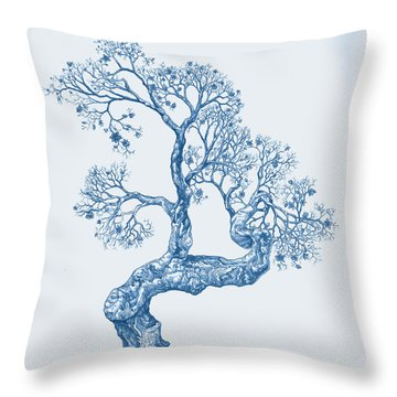Tree 14 Blue 1 Throw Pillow