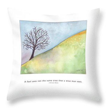 Throw Pillow featuring the painting Tree A Wise Man Sees by Kristen Fox