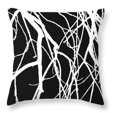 Tree Abstract Bw Throw Pillow