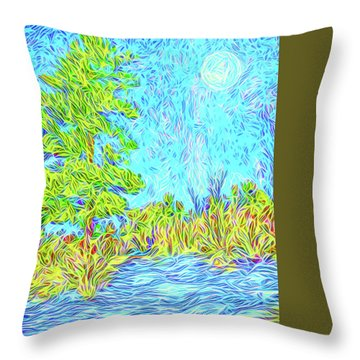 Throw Pillow featuring the digital art Tree Aglow In Moonlight - Mountain Scene In Boulder County Colorado by Joel Bruce Wallach