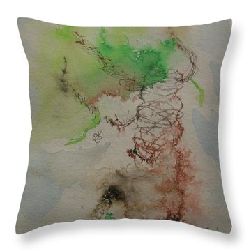 Throw Pillow featuring the drawing Tree by AJ Brown