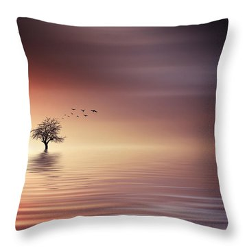 Tree And Birds On Lake Sunset Throw Pillow by Bess Hamiti