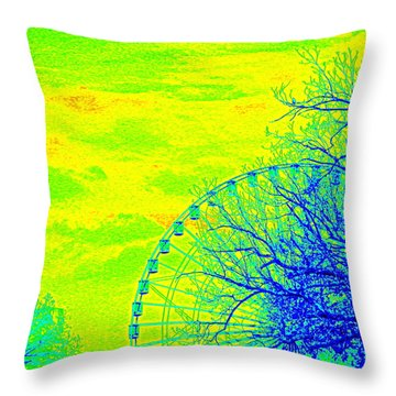 Tree And Ferris Wheel  Throw Pillow