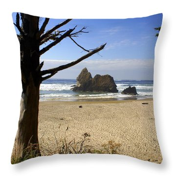 Tree And Ocean Throw Pillow by Marty Koch