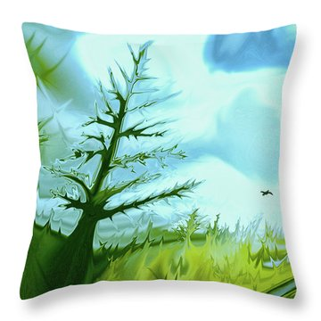 Tree And River Digital Landscape Throw Pillow