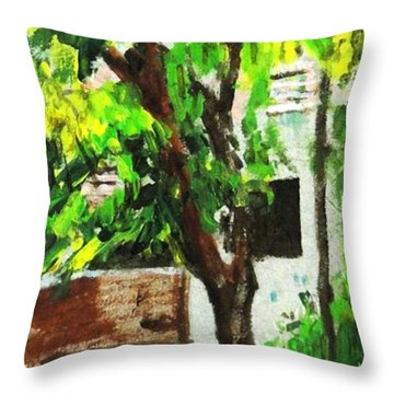 Tree And Shade Throw Pillow by Usha Shantharam