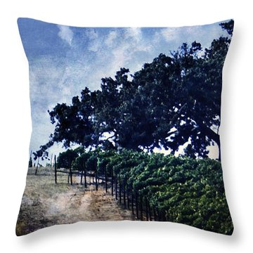 Vineyard Tree Throw Pillow by Gilbert Artiaga
