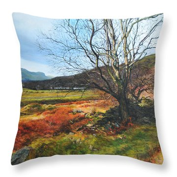 Tree At Aberglaslyn Throw Pillow by Harry Robertson