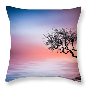 Tree At Lake Throw Pillow by Bess Hamiti