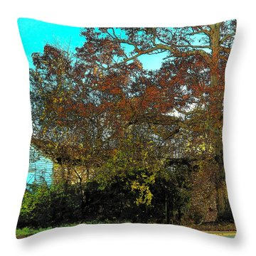 Tree At The Station Throw Pillow by Joyce Kimble Smith