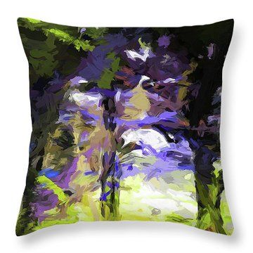Tree Avenue Lavender Lilac Green Throw Pillow