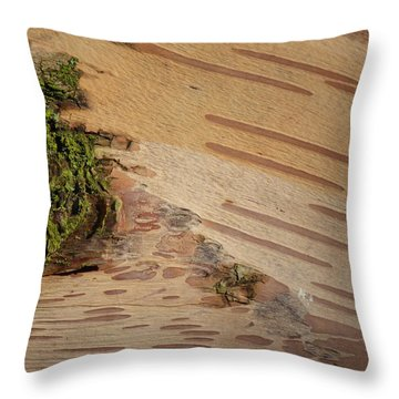 Tree Bark With Lichen Throw Pillow