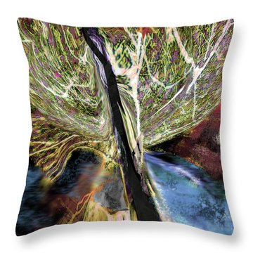 Tree Bent By Wind Throw Pillow