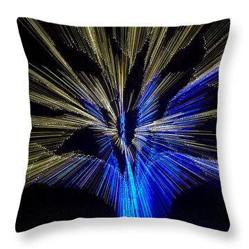 Tree Burst Of Blue And Yellow Throw Pillow