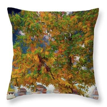 Tree By The Bridge Throw Pillow
