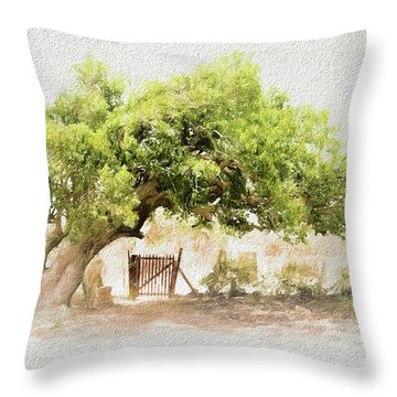 Throw Pillow featuring the photograph Tree By The Gate by Ola Allen