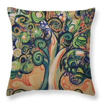 Tree Candy Throw Pillow by Genevieve Esson