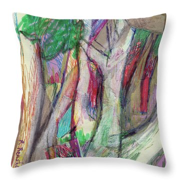 Tree Collage Throw Pillow by Ruth Renshaw