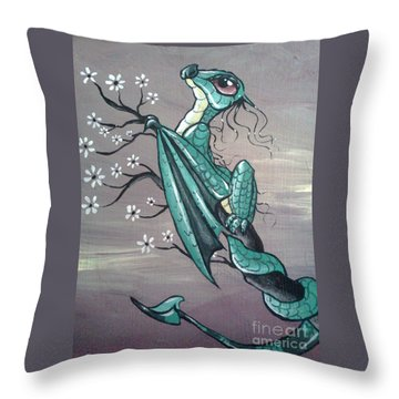 Throw Pillow featuring the painting Tree Dragon II by Mary Hoy